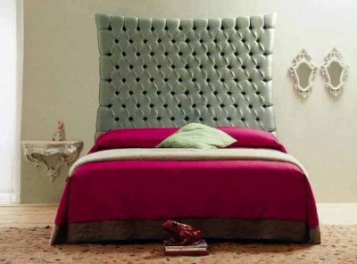 biscotto-bed-with-shiny-silver-studded-headboard,-art-cr703-night-table-&-art-cr729-mirror-in-white-by-creazioni